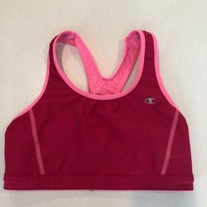 Pink retro champion sports bra